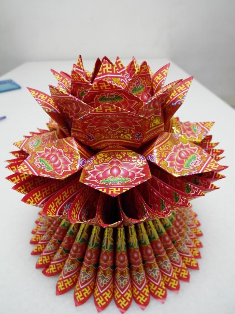 燙金蓮花-紅 $150(個)
